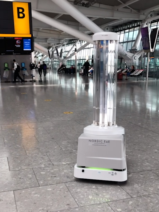 UVD Robot in the Heathrow Airport concourse to protect the travel industry