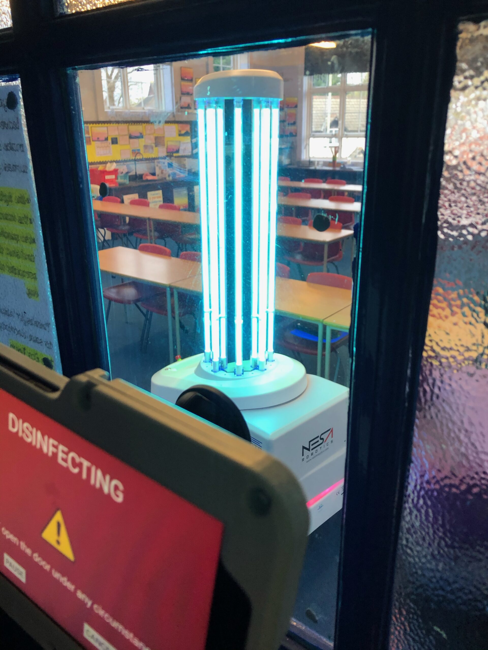 UVD Robot for education - disinfecting a classroom to protect students