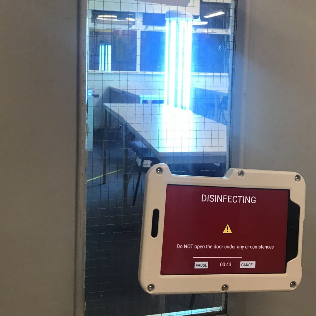 UVD Robot disinfecting a classroom at George Abbot as part of protecting schools