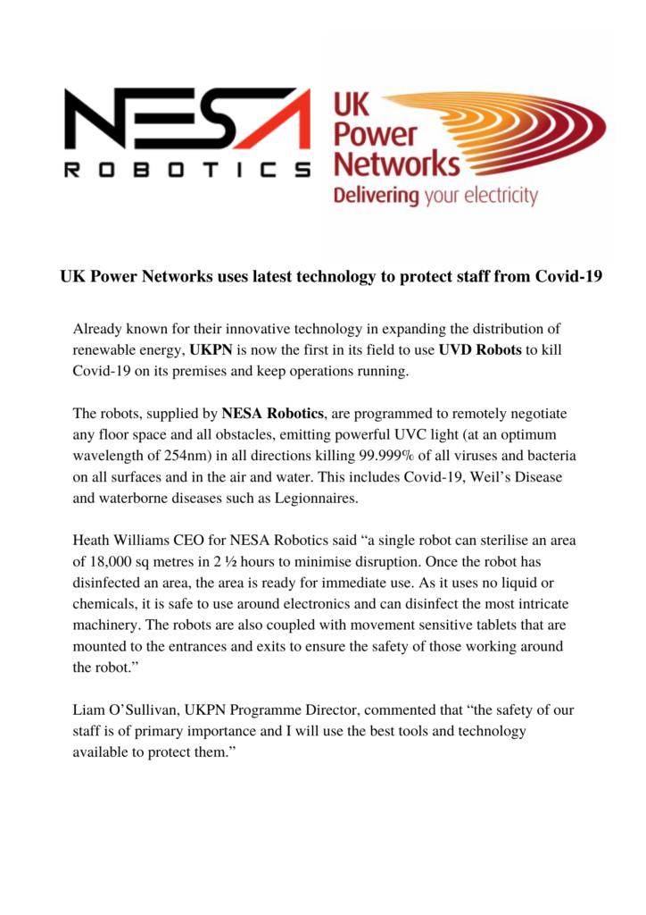 UK Power Networks and NESA Robotics Press Release