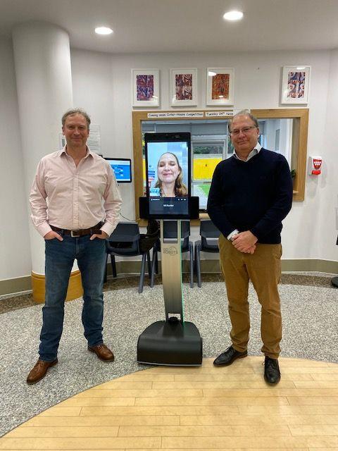 Executive Head Michaela Khatib using the GoBe robot alongside NESA Robotics CEO Heath Williams (left) and Chair of Governors Howard Morris