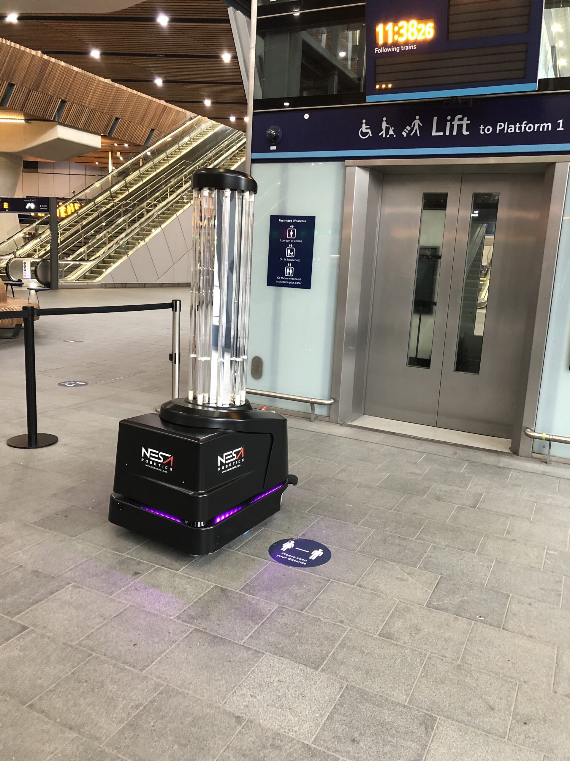 UVD Robot in front of a lift at London Bridge