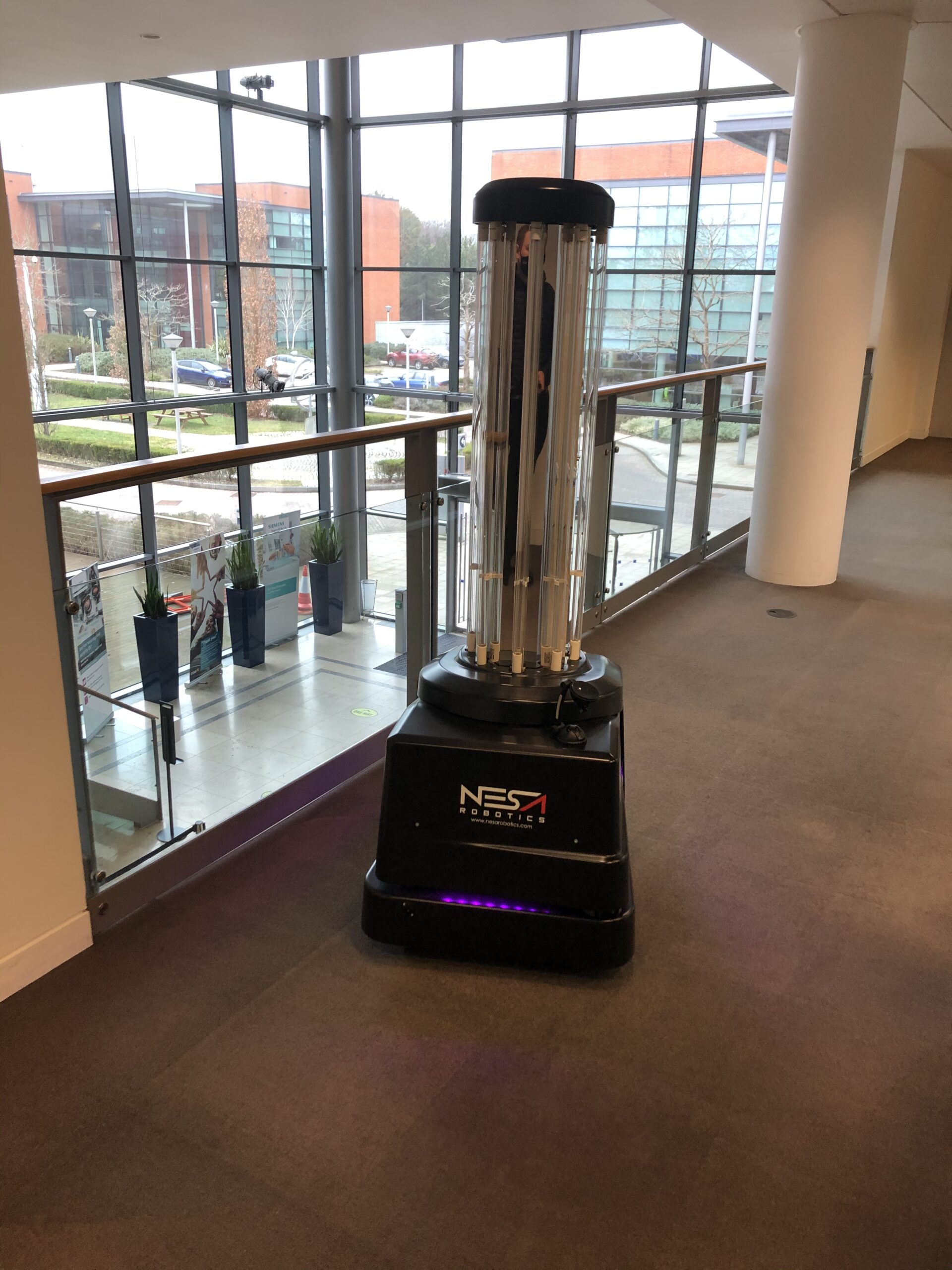 UVD Robot at Siemen's office in a demonstration to their Facilities Management team